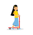 cute brunette girl riding a kick scooter cartoon vector image vector image