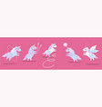 cute plump unicorns in rhythmic gymnastics set vector image