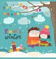 cute winter cartoon couple swinging vector image vector image