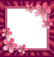 decorative frame with pink 3d sakura blossom vector image vector image