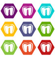 denture implant icons set 9 vector image vector image