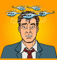 drunk man with helicopters pop art vector image vector image