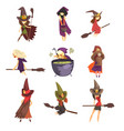 flat set of young witches in different vector image vector image