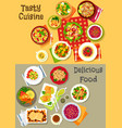 fresh salad with vegetable fish and meat icon set vector image