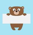funny bear hanging on paper board templatebig vector image vector image
