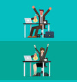 happy businessman and woman getting bag money vector image