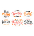 happy friendship day cute hand lettering big set vector image vector image