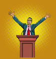 happy politician man on podium vector image