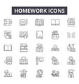 homework line icons signs set outline vector image vector image