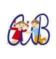 kids and alphabet vector image vector image