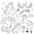 magic unicorn rainbow fairy wings stars vector image vector image