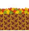 Maple Leaves with Autumn Knitted Pattern 1 vector image