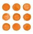 Orange watercolor round stains vector image vector image