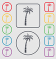 Palm icon sign symbol on the Round and square vector image