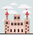 pink castle of fairy tales with colorful sky vector image