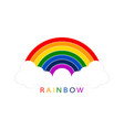 rainbow with white clouds on blank background for vector image vector image
