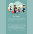 refugees at airport poster vector image vector image