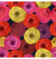 seamless pattern with vivid ranunculus vector image vector image