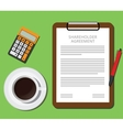 shareholder agreement clipboard with document cup vector image