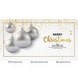 silver shiny christmas balls on light background vector image vector image