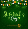 st patrick day golden horseshoe shamrock pattern vector image vector image