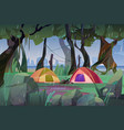 summer camp with tents in forest at rainy weather vector image