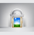 sunrise over fields through grand entrance vector image vector image
