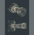 turbofan jet engine blueprint vector image vector image