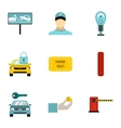 Valet parking icons set flat style vector image vector image