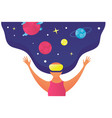 woman in vr glasses look at space on star and vector image vector image