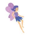 young pretty angelic purple fairy girl flying vector image vector image