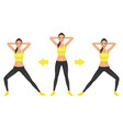 young pretty woman make lunge exercise with hands vector image vector image