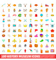 100 history museum icons set cartoon style vector image vector image