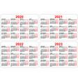 2020 2021 2022 2023 years set pocket calendar vector image vector image