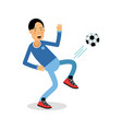 active young boy kicking a soccer ball cartoon vector image vector image