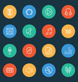 audio icons line style set with tambourine piano vector image vector image