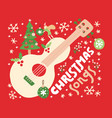 christmas songs guitar on red background vector image vector image