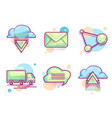 cloud email icons modern color pictograms vector image