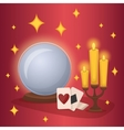 Crystal ball and fortunetelling cards vector image
