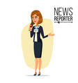 female journalist microphone professional vector image vector image