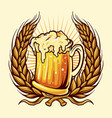 glasses beer badge wheat vector image