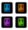 glowing neon identification badge icon isolated vector image vector image