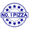 grunge blue number one pizza with star icon round vector image vector image