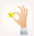 hand hold gold star flat vector image