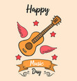 happy music day card style art vector image vector image