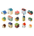 house street isometric icons set flat design vector image