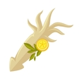 icon squid with lemon vector image