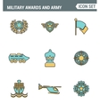 Icons line set premium quality of military awards vector image vector image