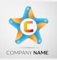Letter c logo symbol in the colorful star on grey