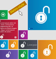 open lock icon sign buttons Modern interface vector image